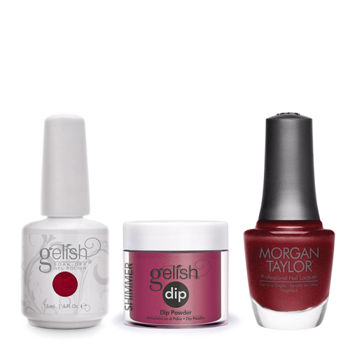 Gelish 3in1 Dipping Powder + Gel Polish + Nail Lacquer, 0.8oz, What's Your Poinsettia