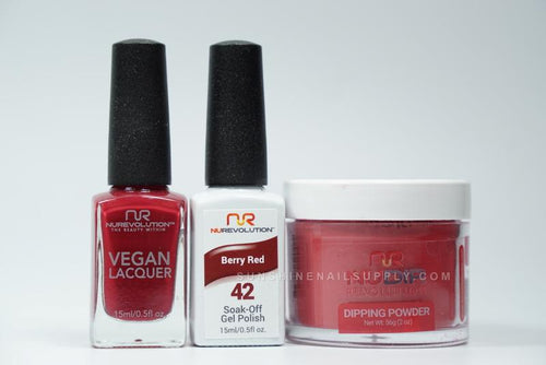 NuRevolution 3in1 Dipping Powder + Gel Polish + Nail Lacquer, 2oz, Berry Red KK