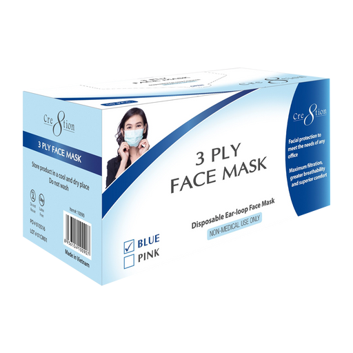 Cre8tion Disposable 3 Ply Face Mask, Blue, BOX, 10090 OK0715VD
