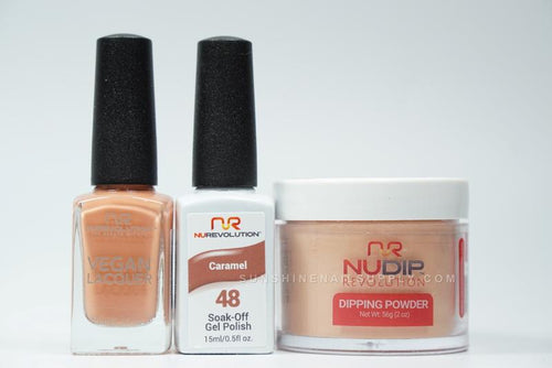 NuRevolution 3in1 Dipping Powder + Gel Polish + Nail Lacquer, 2oz, Caramel KK