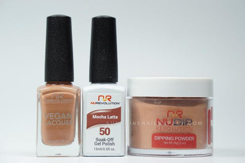 NuRevolution 3in1 Dipping Powder + Gel Polish + Nail Lacquer, 2oz, Mocha Latte KK