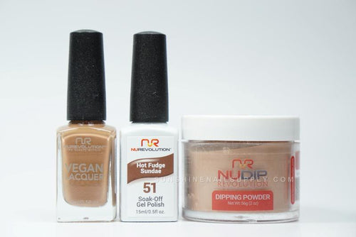 NuRevolution 3in1 Dipping Powder + Gel Polish + Nail Lacquer, 2oz, Hot Fudge Sundae KK