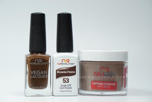 NuRevolution 3in1 Dipping Powder + Gel Polish + Nail Lacquer, 2oz, Brownie Points KK