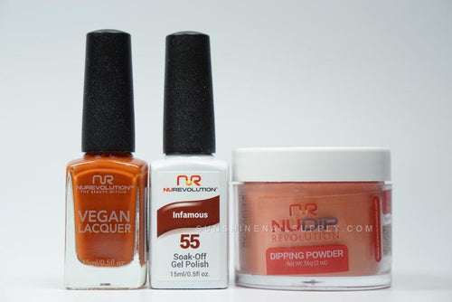 NuRevolution 3in1 Dipping Powder + Gel Polish + Nail Lacquer, 2oz, Infamous KK