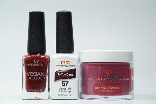 NuRevolution 3in1 Dipping Powder + Gel Polish + Nail Lacquer, 057, In Too Deep OK1129