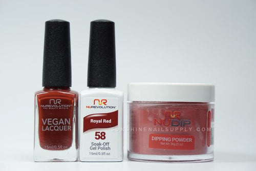 NuRevolution 3in1 Dipping Powder + Gel Polish + Nail Lacquer, 058, Royal Red OK1129