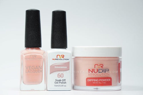NuRevolution 3in1 Dipping Powder + Gel Polish + Nail Lacquer, 060, Innocence OK1129
