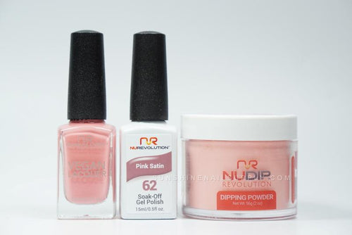 NuRevolution 3in1 Dipping Powder + Gel Polish + Nail Lacquer, 062, Pink Satin OK1129