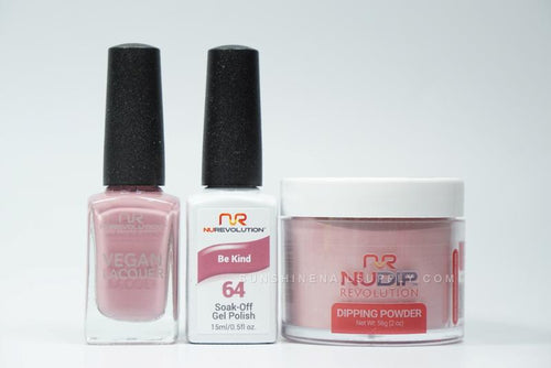 NuRevolution 3in1 Dipping Powder + Gel Polish + Nail Lacquer, 064, Be Kind OK1129