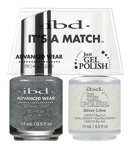 IBD Just Gel Polish, 65469, It's A Match Duo, Silver Lites, 0.5oz KK