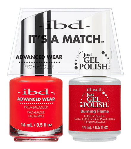 IBD Just Gel Polish, 65512, It's A Match Duo, Burning Flame, 0.5oz KK