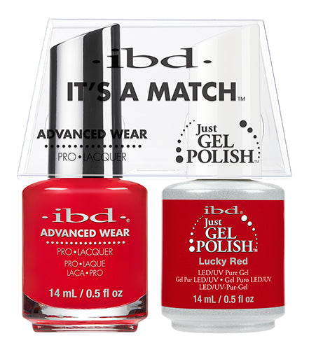 IBD Just Gel Polish, 65514, It's A Match Duo, Luckky Red, 0.5oz KK
