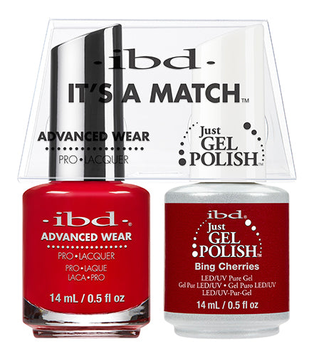 IBD Just Gel Polish, 65515, It's A Match Duo, Bing Cherries, 0.5oz KK