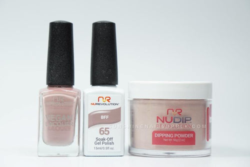 NuRevolution 3in1 Dipping Powder + Gel Polish + Nail Lacquer, 065, BFF OK1129