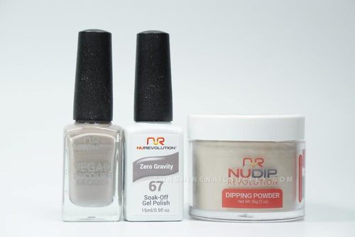 NuRevolution 3in1 Dipping Powder + Gel Polish + Nail Lacquer, 067, Zero Gravity OK1129