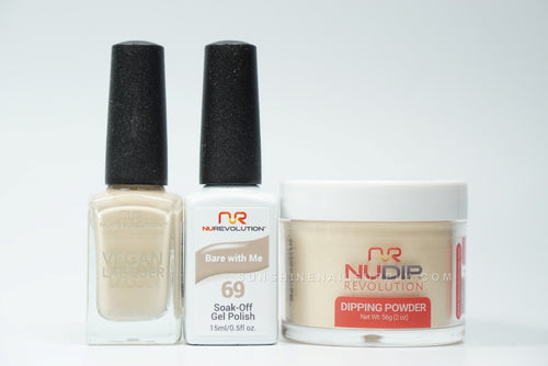NuRevolution 3in1 Dipping Powder + Gel Polish + Nail Lacquer, 069, Bare With Me OK1129