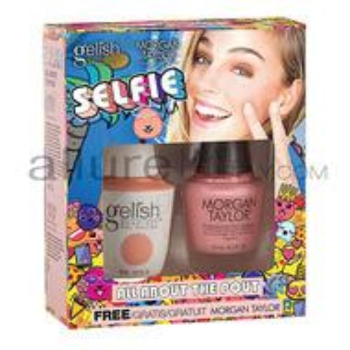 Gelish Gel Polish & Morgan Taylor Nail Lacquer, 1110254, Selfie Collection, Two of a Kind, All About The Pout, 0.5oz BB KK
