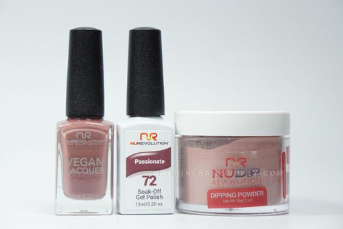NuRevolution 3in1 Dipping Powder + Gel Polish + Nail Lacquer, 072, Passionate OK1129