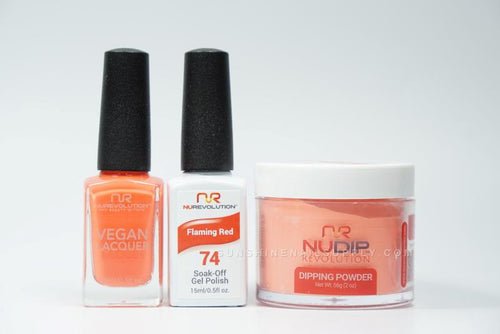 NuRevolution 3in1 Dipping Powder + Gel Polish + Nail Lacquer, 074, Flaming Red OK1129