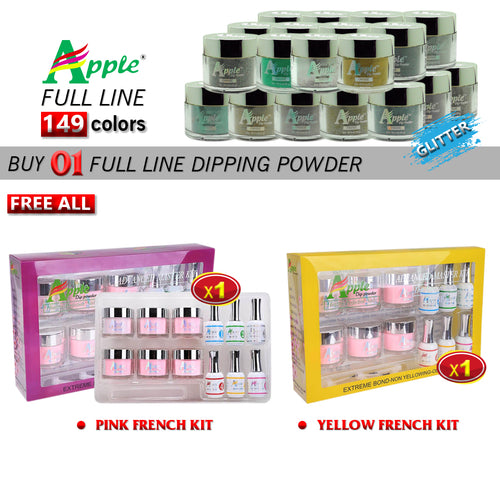Apple Dipping Powder, Glitter Collection, 2oz, Full line of 149 colors (From 423to 572), Buy 1 Get 1 Pink French Kit And 1 Apple Yellow French Kit FREE