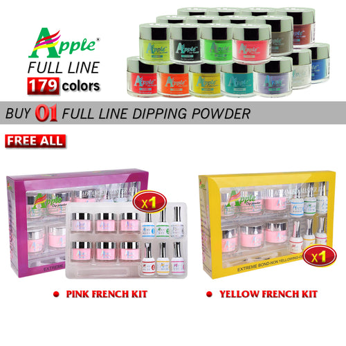 Apple Dipping Powder, 2oz, Full line of 179 colors (Form 201 to 379), Buy 1 Get 1 Apple Pink French Kit And 1 Apple Yellow French Kit FREE