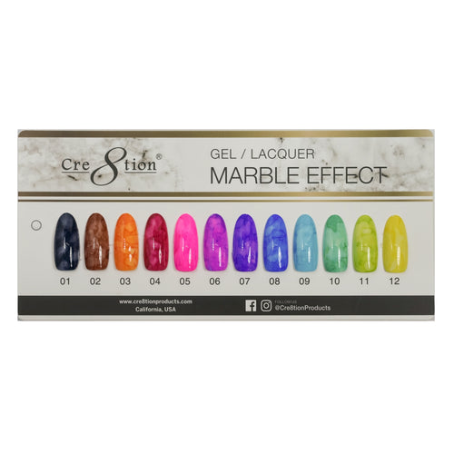 Cre8tion Marble Effect Gel Polish, Counter Foam Display Color Chart, 37105