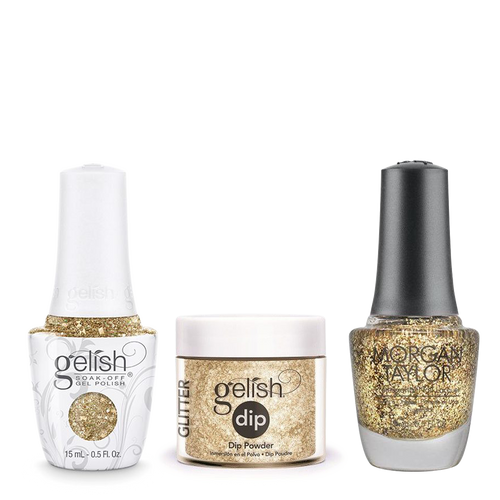 Gelish 3in1 Dipping Powder + Gel Polish + Nail Lacquer, All That Glitters Is Gold, 947