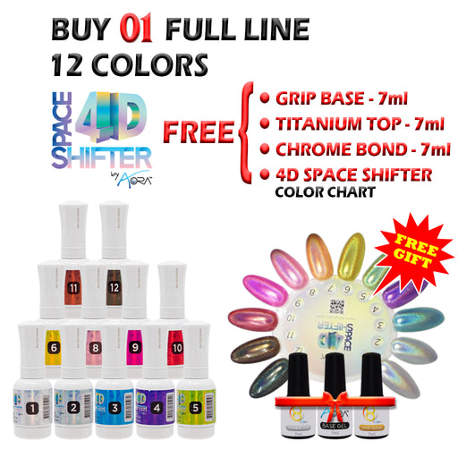AORA 4D Space Shifter Gel Polish Full Line Of 12 Color (from 01 to 12), 0.5oz, Buy 1 Get 1 SET include: Grip Base, Titanium Top, Chrome Bond 7ml & 4D Gel Color Chart FREE