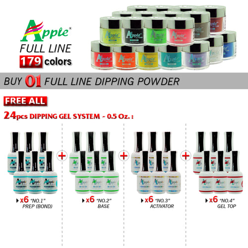 Apple Dipping Powder, 2oz, Full line of 179 colors (Form 201 to 379), Buy 1 Get 24pcs Apple Dipping Gel 0.5oz ( 6pcs for each from No.1 to No.4)