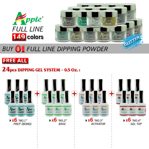 Apple Dipping Powder, Glitter Collection, 2oz, Full line of 149 colors (From 423 to 572), Buy 1 Get 24pcs Apple Dipping Gel 0.5oz (6pcs for each from No.1 to No.4)