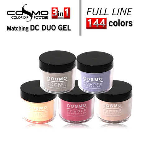 Cosmo 3in1 Dipping Powder + Gel Polish + Nail Lacquer (Matching DC Duo Gel), Full Line of 144 colors (from CDC001 to CDC144) KK0927