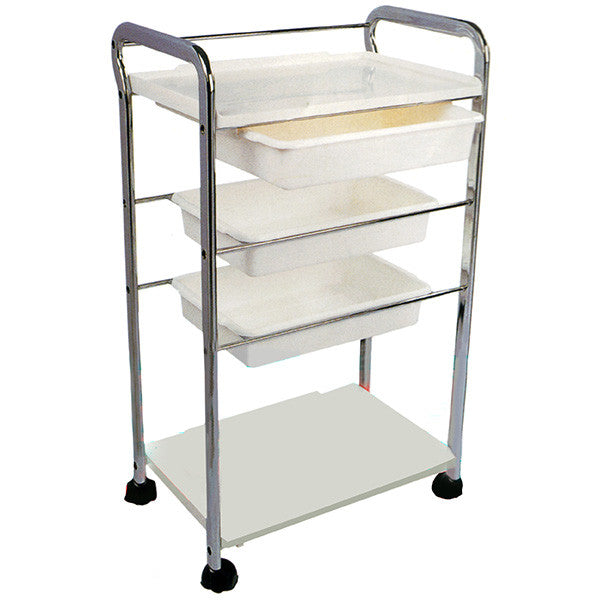 Cre8tion White Beauty Trolley, 3 Trays, 29026 BB (NOT Included Shipping Charge)