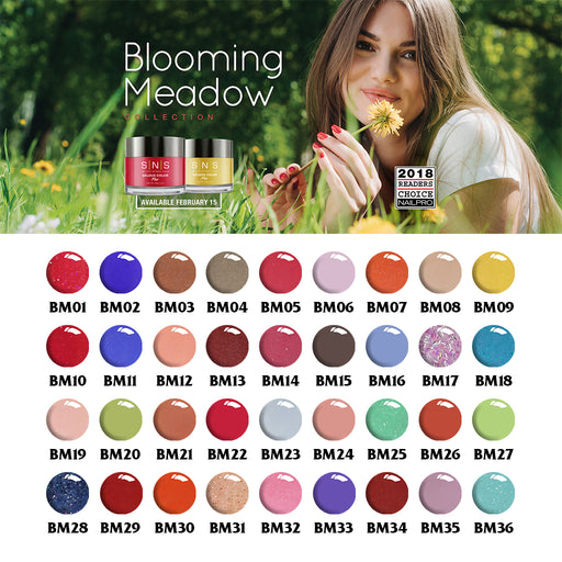SNS Gelous Dipping Powder, Blooming Meadow Collection, Full Line Of 36 Color (from BM01 to BM36)