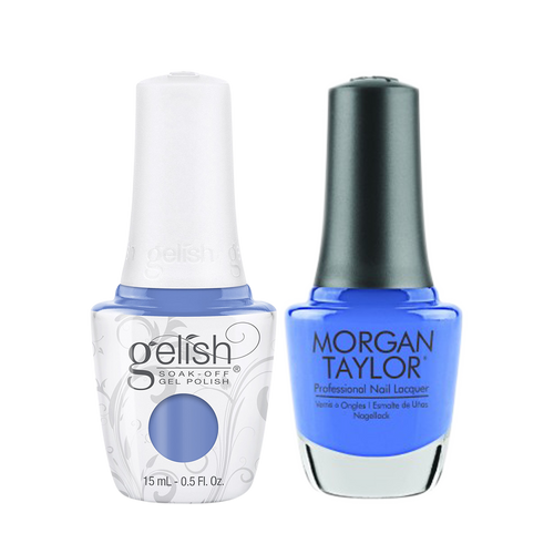 Gelish Gel Polish & Morgan Taylor Nail Lacquer 1, 1110330 + 3110330, Forever Fabulous Winter Collection 2018, Blue Eyed Beauty, 0.5oz KK1011