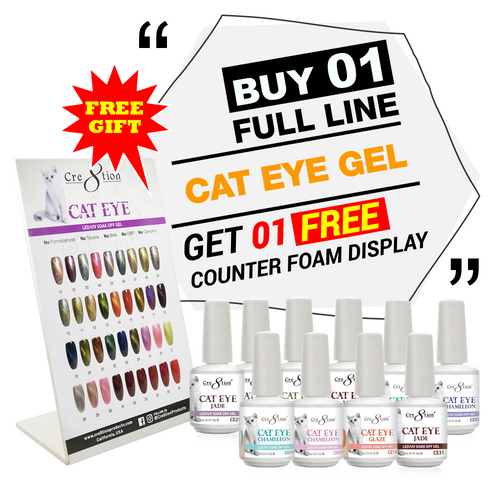 Cre8tion Cat Eye Gel, Full Line of 36 Colors (from CE01 to CE36, Price: $7.46/pc), Buy 1 Get 1 Counter Foam Display FREE