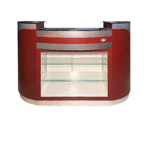 SPA Reception Desk, Burgundy/Aluminum, C-209BA (NOT Included Shipping Charge)