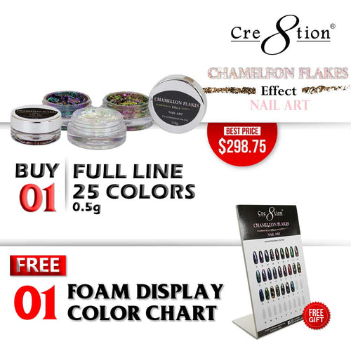 Cre8tion Nail Art Chameleon Flakes, Full Line Of 36 Colors (from CF01 to CF36, Price: $11.95/pc), Buy 1 Get 1 Counter Foam Display FREE