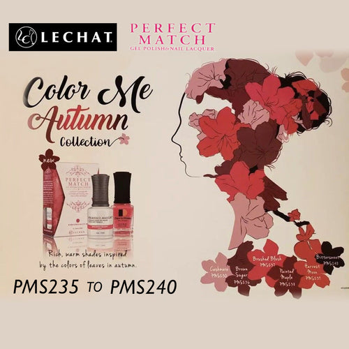 LeChat Perfect Match Nail Lacquer And Gel Polish, Color Me Autumn Collection, Full line of 6 colors (From PMS235 to PMS240), 0.5oz KK1030