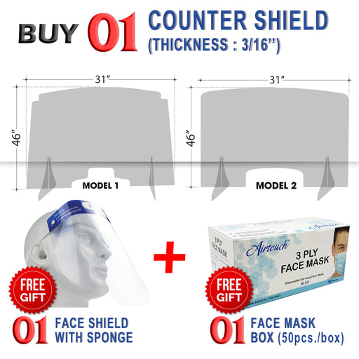 Counter Shield 46''W x 31''H, Thickness 3/16'', Buy 01pc Get 01pc Airtouch Disposable Face Mask Box & 01pc Face Shield with Sponge FREE