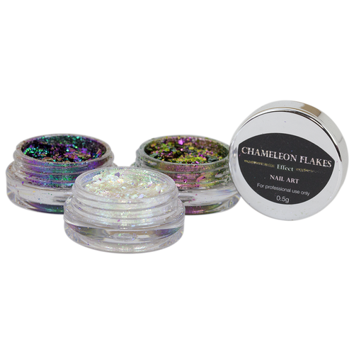 Cre8tion Nail Art Chameleon Flakes, 0.5g, Full Line Of 36 Colors (from CF01 to CF36, Price: $11.95/pc)