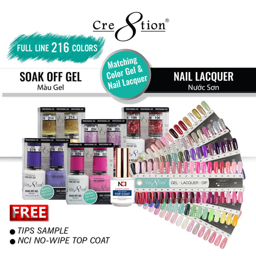 Cre8tion Gel Polish And Nail Lacquer, 0.5oz, Full line of 216 Colors (from 001 to 216)