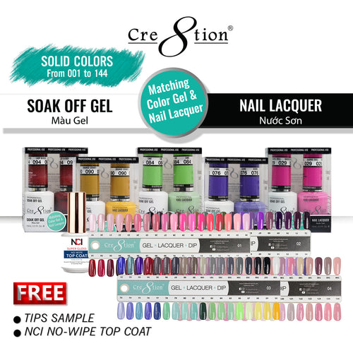 Cre8tion Gel Polish And Nail Lacquer, 0.5oz, Full line of 144 Colors (from 001 to 144)