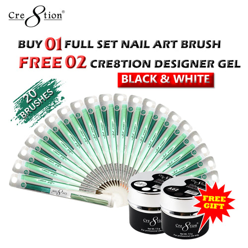 Cre8tion Nail Art Brush, Full Line of 20pcs, Buy 1 Get 2pcs Cre8tion Signature Designer Gel 7.5oz (Black & White Color)