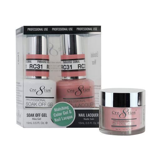 Cre8tion 3in1 Dipping Powder + Gel Polish + Nail Lacquer, Rustic Collection, RC31 KK1206