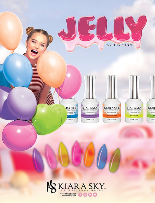 Kiara Sky Gel Polish 2, Jelly Collection, Full line of 16 colors ( from G4000 to G4015, Price: $9.95/pc), 0.5oz