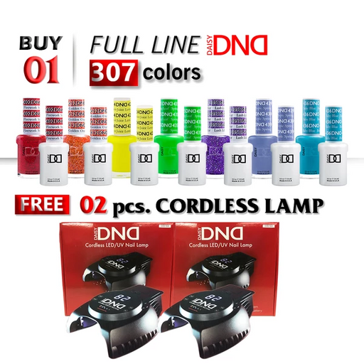 DND Duo Gel, 0.5oz, Full Line 307 Colors, Buy 1 Full Line Get 2pcs DND Cordless Lamp, FREE