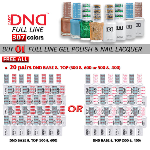 DND Nail Lacquer + Gel Polish, 0.5oz, Full Line Of 307 Colors ( from 401 to 710), Buy 1 Full Line Get 20 pairs DND Base & Top (500 & 600 OR 500 & 400) FREE