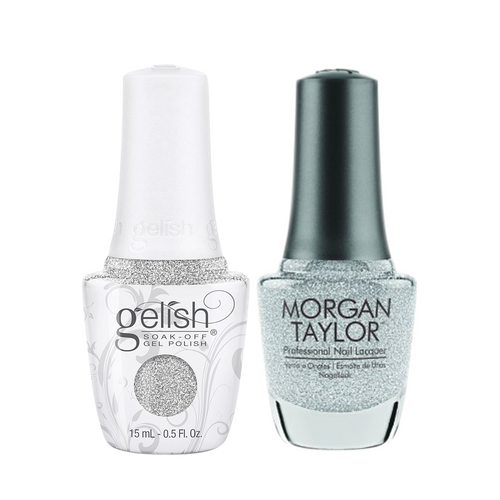 Gelish Gel Polish & Morgan Taylor Nail Lacquer 1, 1110334 + 3110334, Forever Fabulous Winter Collection 2018, Diamonds Are My Bff, 0.5oz KK1011