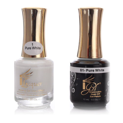 iGel Gel Polish  + Nail Lacquer, 001, Pure White, 0.5oz KK1003