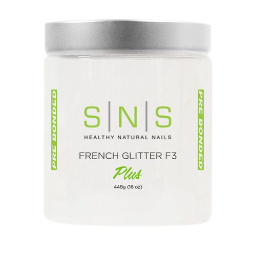 SNS Dipping Powder, 02, WHITE GLITTER F3, 16oz KK1107